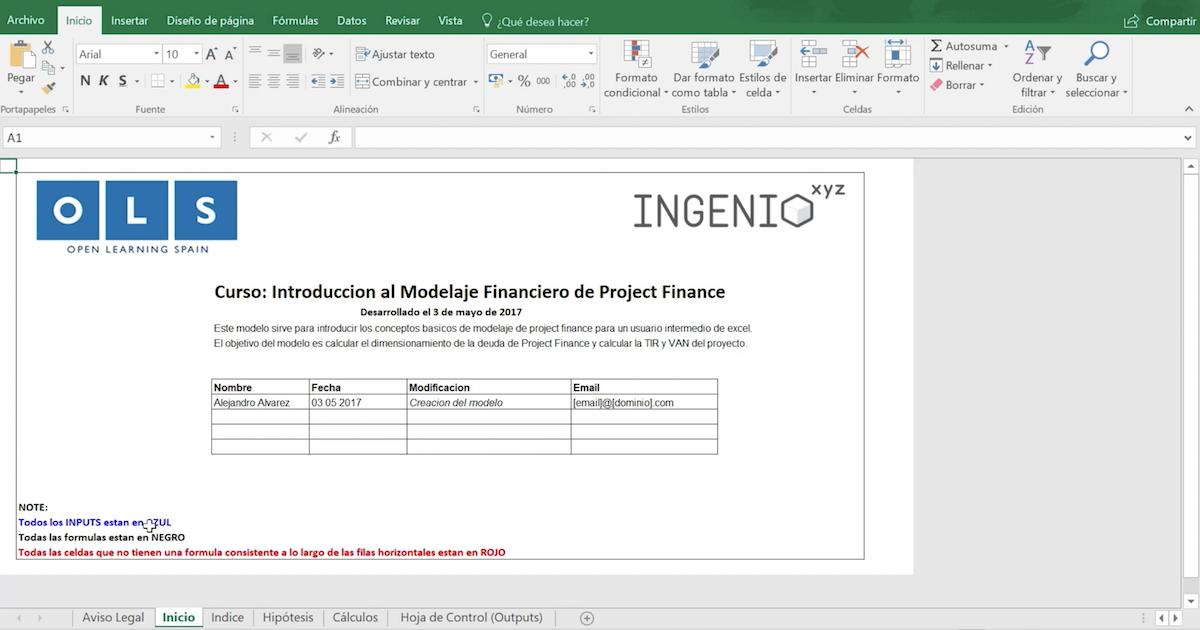 Imagen Secciones de un modelo financiero de Project Finance