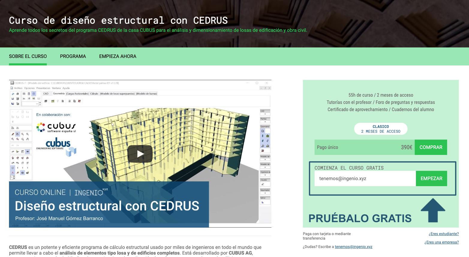 Imagen Curso de Diseño estructural con CEDRUS, ya disponible en ingenio.xyz