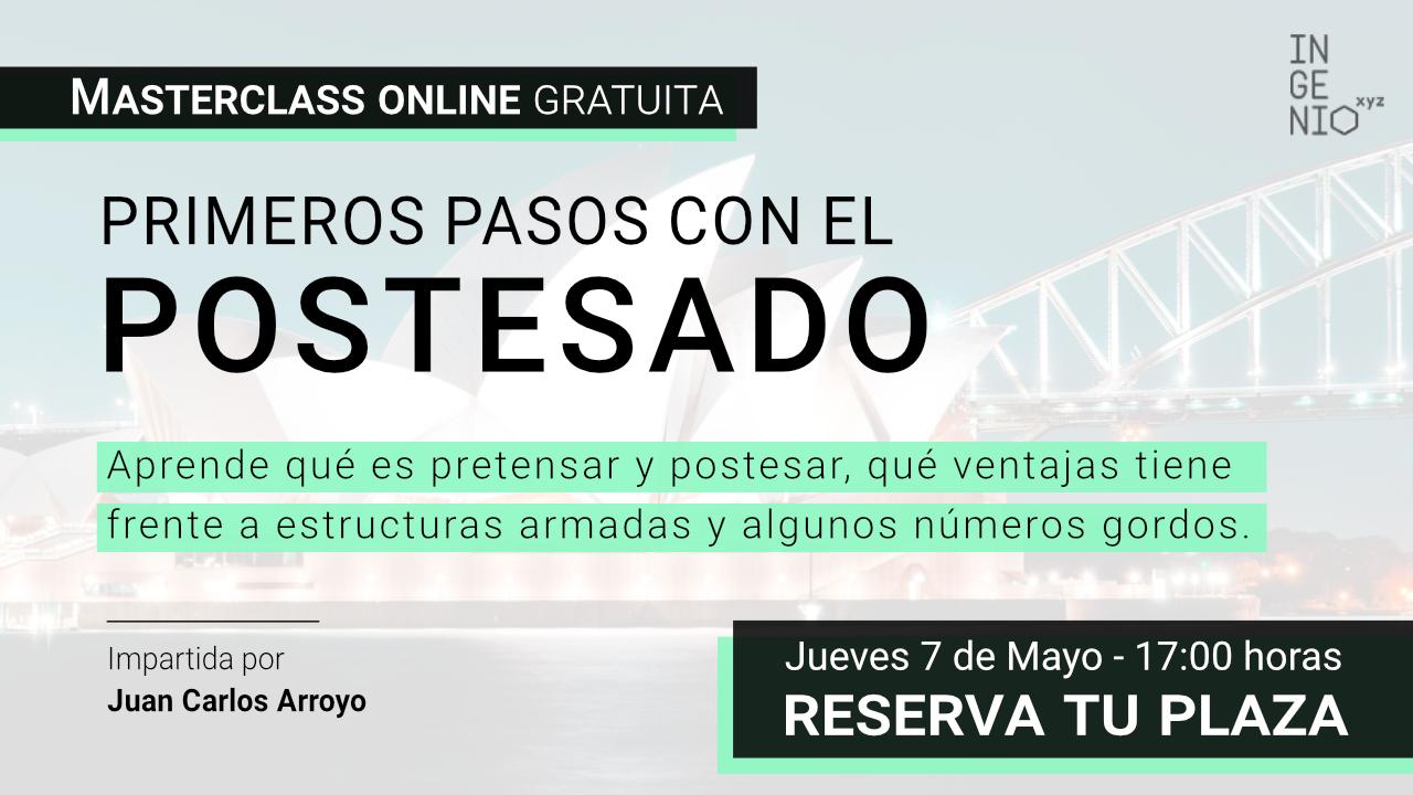 """Imagen Masterclass """"Primeros pasos con el postesado"""", próximo Jueves 7 de Mayo a las 17:00 horas"""