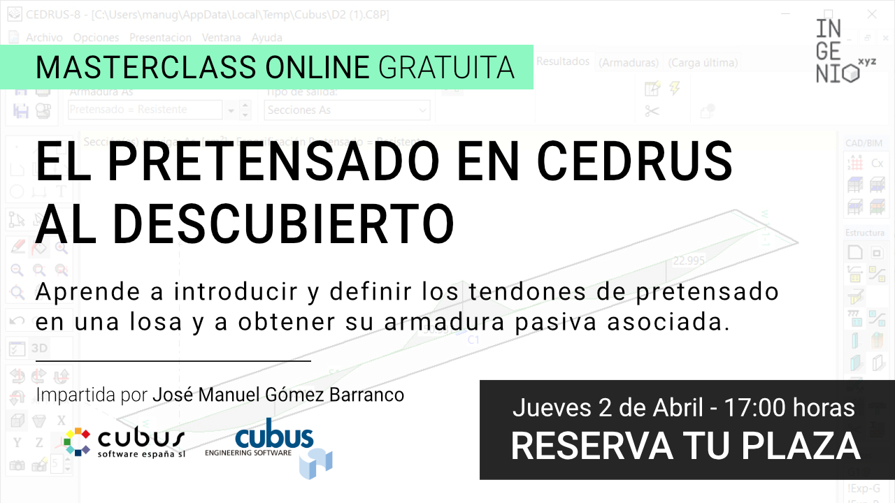 """Imagen Masterclass """"El pretensado en CEDRUS al descubierto"""" - Jueves 2 de Abril (17:00h)"""